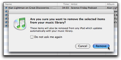 how to delete podcasts from itunes library