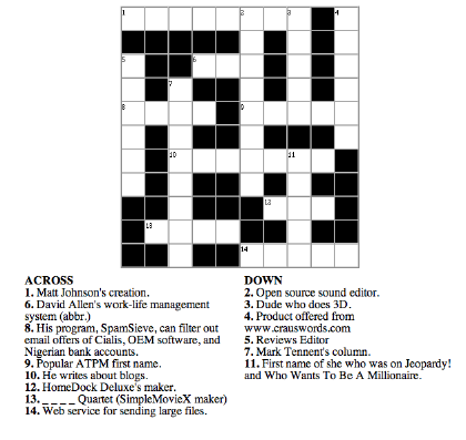 Free Crossword Puzzles on Crossword Puzzle With Gfx